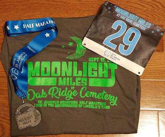Moonlight Miles Half Marathon, Oak Ridge Cemetery, Springfield IL September 2018