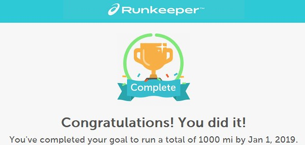 Goal Completed 1000 miles for 2018